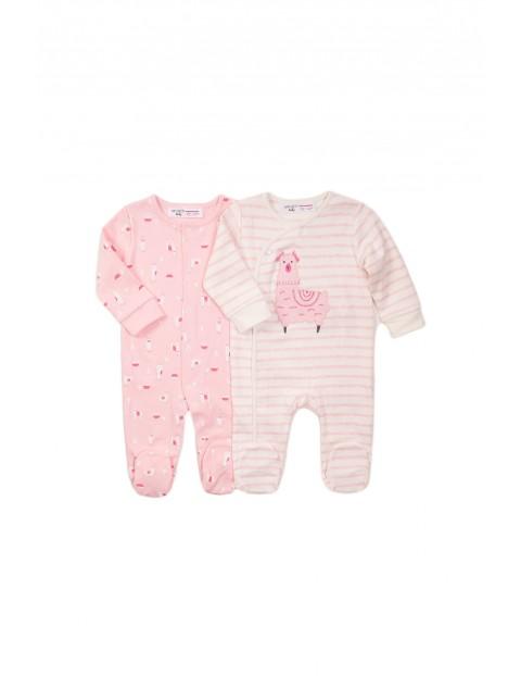 Pajace niemowlęce 2 pak - różowe