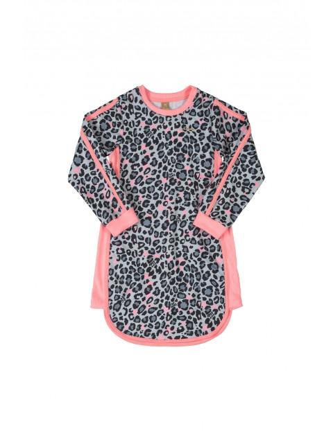 Sukienka dziewczęca w panterkę z długim rękawem - różowa