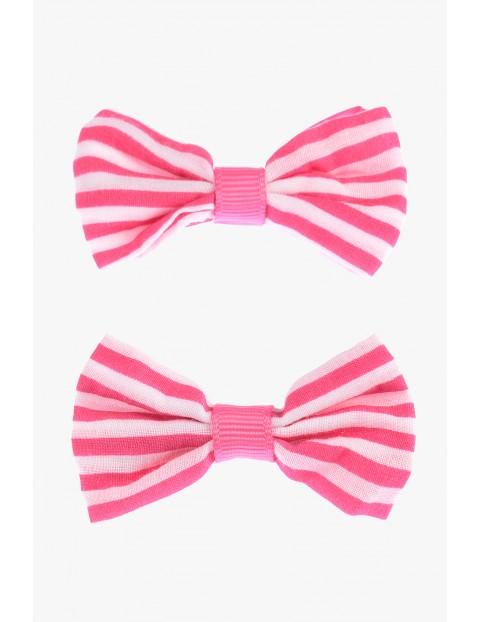 Spinki do włosów kokardki różowe 2szt