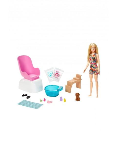 Barbie - Zestaw Mani-Pedi SPA- lalka ze szczeniaczkiem, funkcją zmiany koloru i saszetkami z proszkiem wiek 3+