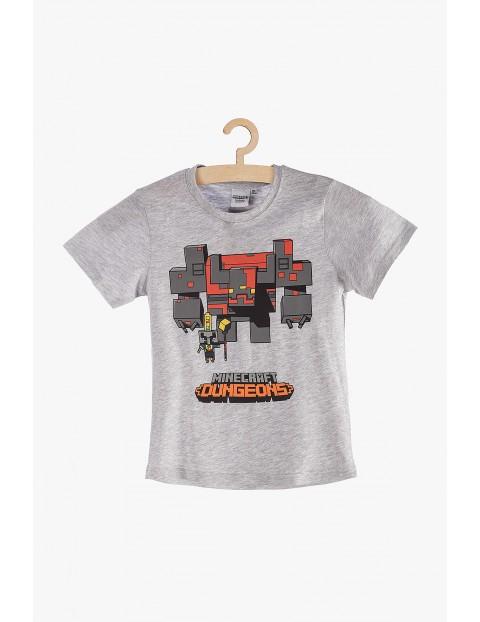 T-Shirt dla chłopca Minecraft - szary z nadrukiem