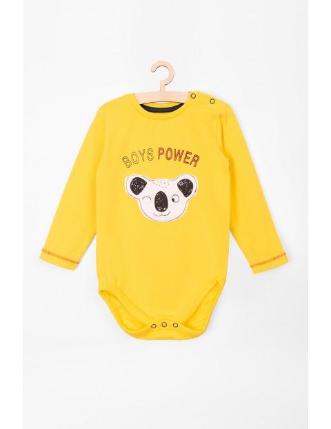Body niemowlęce z długim rękawem- żółte z koalą