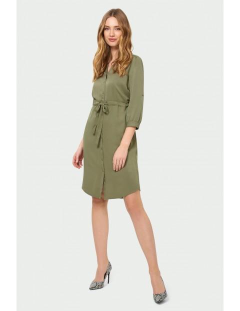 Zielona sukienka z lyocellu typu szmizjerka