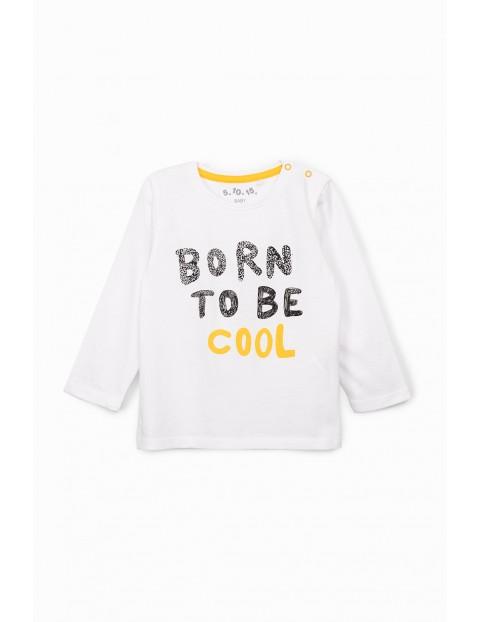 Biała bluzka niemowlęca z długim rękawem- Born To Be Cool