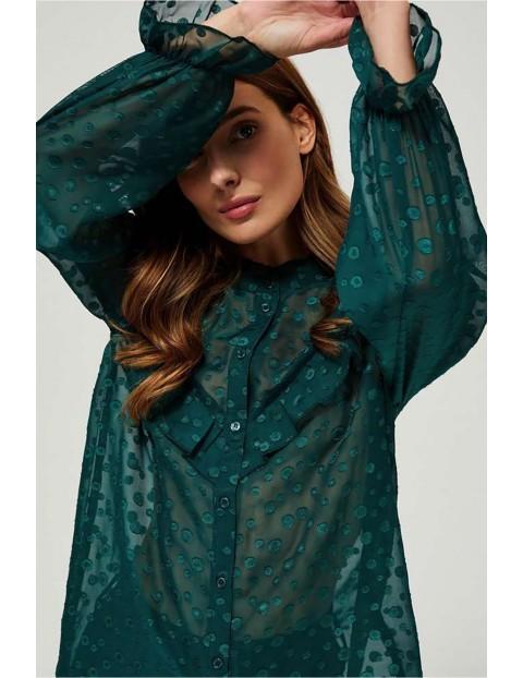 Koszula damska zielona z ozdobnymi falbanami