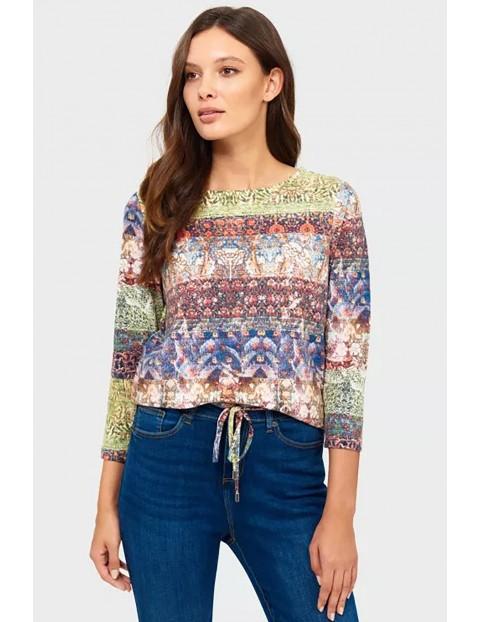 Bluzka damska z długim rękawem w kolorowe wzory
