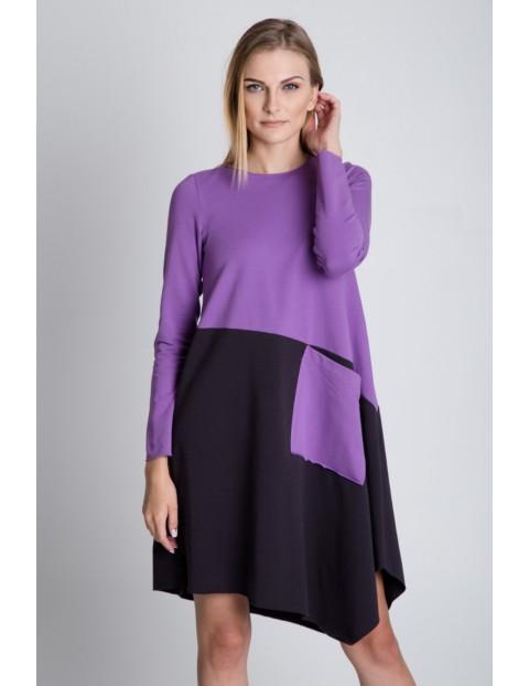 Asymetryczna sukienka z długim rękawem - czarno-fioletowa