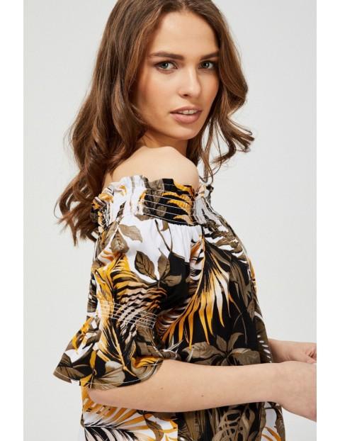 Koszula damska hiszpanka z motywem roślinnym oliwkowa