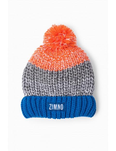 Ciepła czapka dla dziecka z naszywką ZIMNO