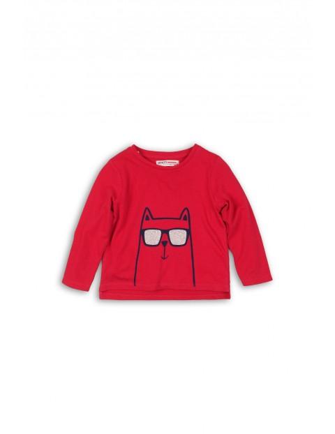 Dzianinowa czerwona bluzka dla niemowlaka