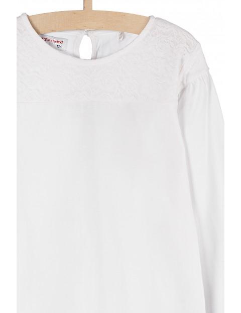 Bluzka dziewczęca biała z ozdobną koronką pod szyją