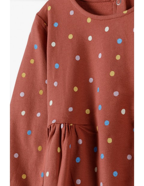 Dzianinowa sukienka w kolorowe kropki-długi rękaw