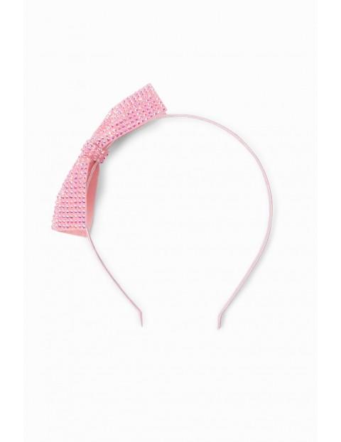 Opaska do włosów dla dziewczynki w kształcie kokardki - różowa