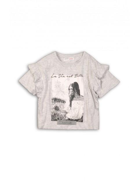 Koszulka dla dziewczynki- szara z nadrukiem