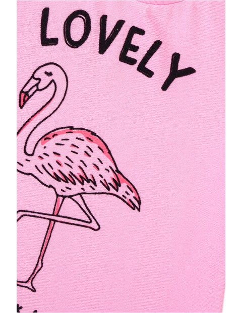 T-shirt dziewczęcy różowy z flamingiem