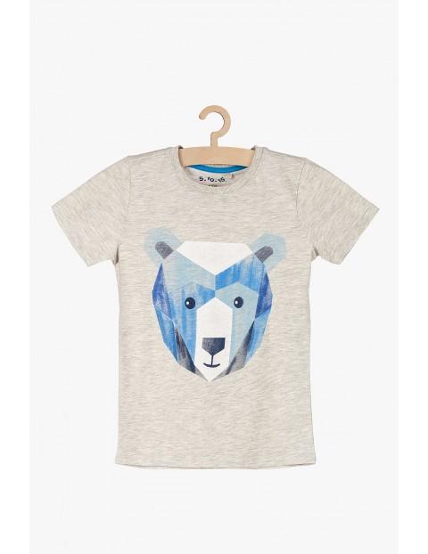 T-shirt chłopięcy szary z niedźwiedziem polarnym