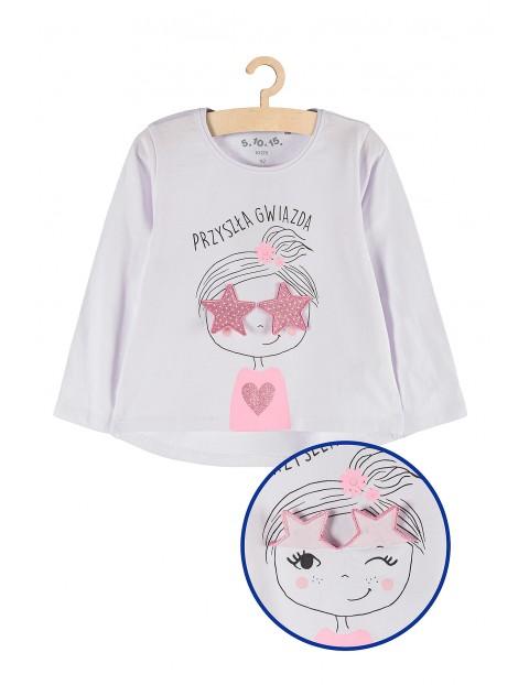 Bluzka dla dziewczynki biała z napisem Przyszła gwiazda