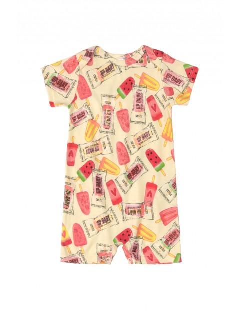 Rampers niemowlęcy  w kolorowe wzorki- 100% bawełna