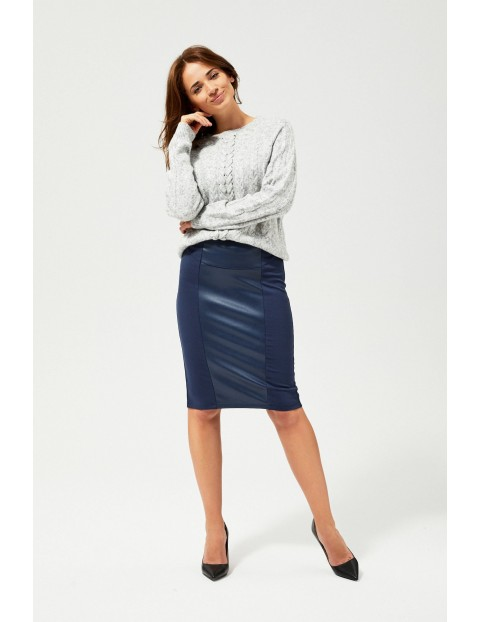 Granatowa spódnica damska z łączonych materiałów
