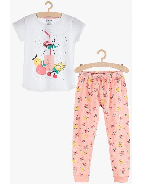 Pidżama dziewczęca dzianinowa z kolorowymi nadrukami