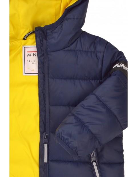 Puchowa kurtka chłopięca na zimę granatowa