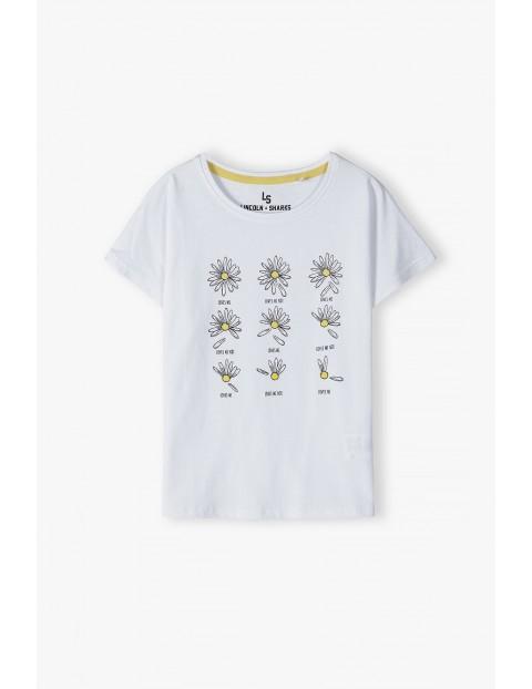 T- shirt dziewczęcy bawełniany w kwiatki