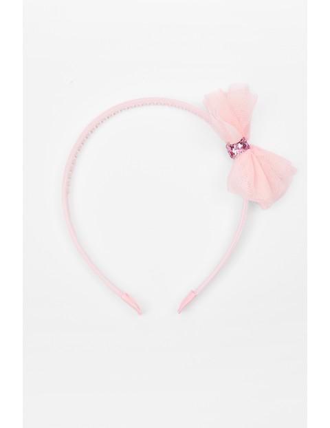 Opaska do włosów różowa z tiulową kokardą