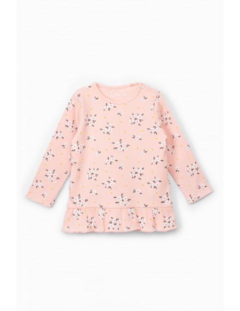 Bluzka niemowlęca prążkowana w kwiatki - różowa