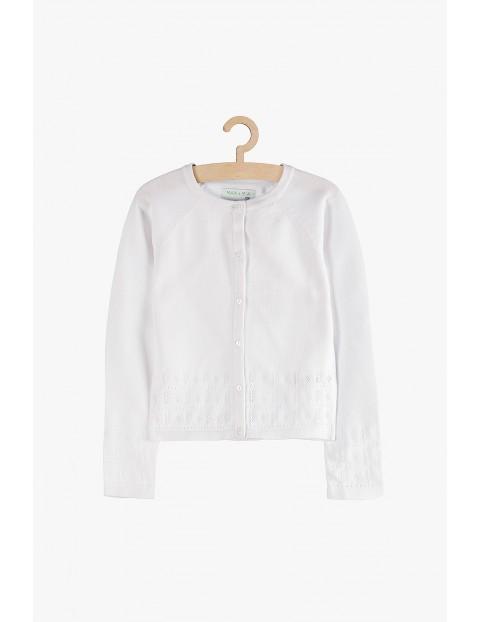 Sweter dziewczęcy biały z ozdobnym dołem