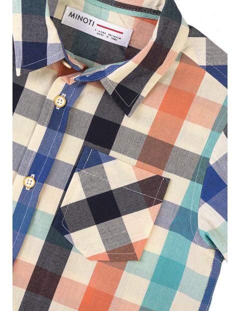 Bawełniana koszula chłopięca w kolorową kratkę