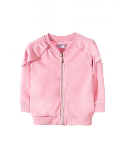 Różowa bluza rozpinana z falbanką przy rękawach