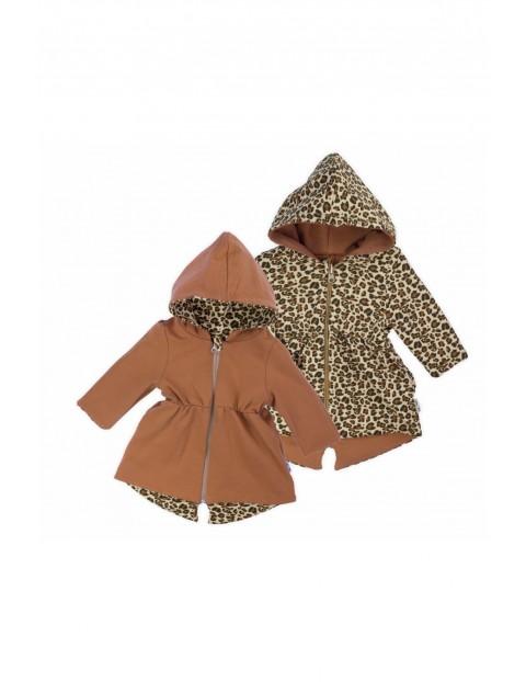 Dwustronny płaszczyk dresowy - brązowy- Panterka