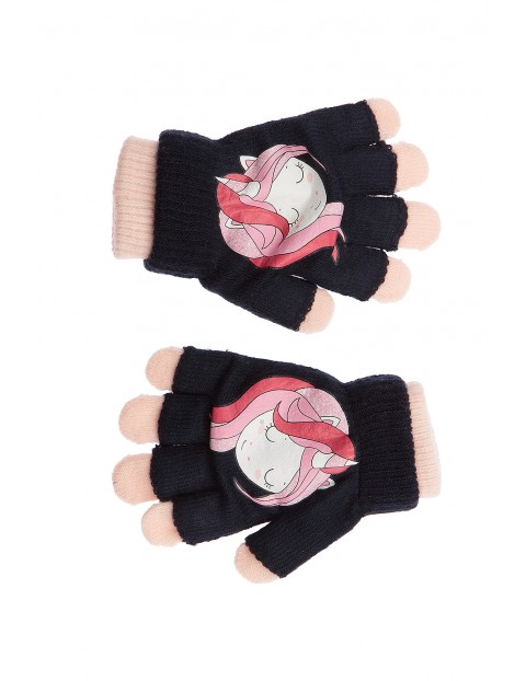 Rękawiczki dla dziewczynki- granatowe z jednorożczem