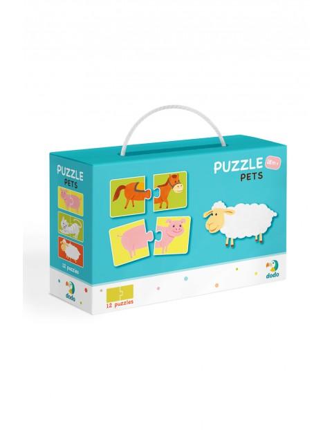 Puzzle Duo Połówki Zwierzęta - 12 el