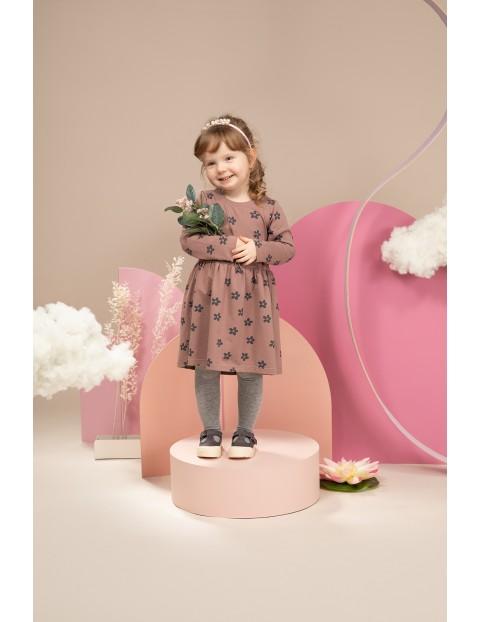 Sukienka dziewczęca w kwiatki różowa