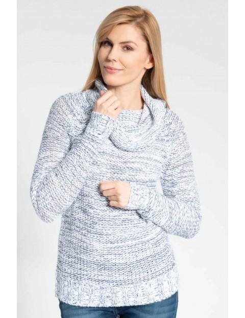 Damski szary melanżowy sweter z golfem