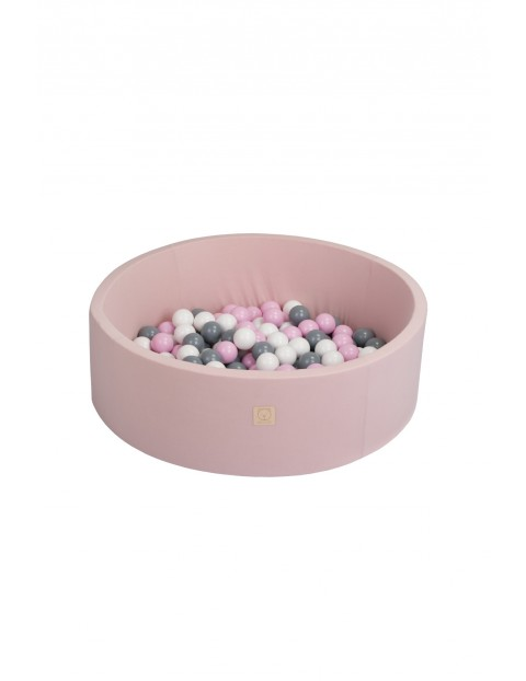 Suchy basen z kulkami różowy - piłki rożowe/szare/białe