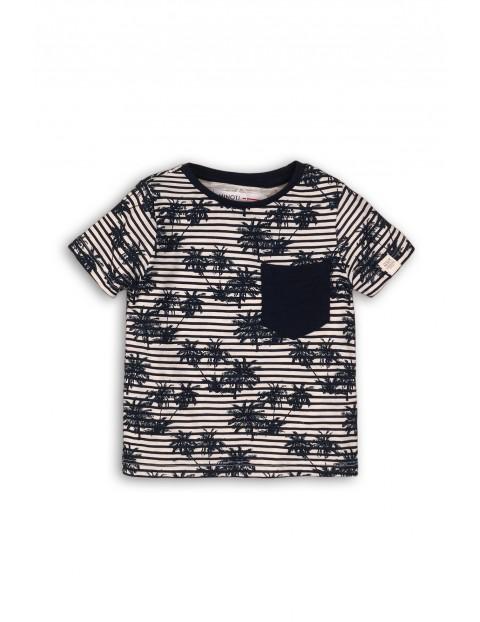Czarny t-shirt w palmy 100% bawełna