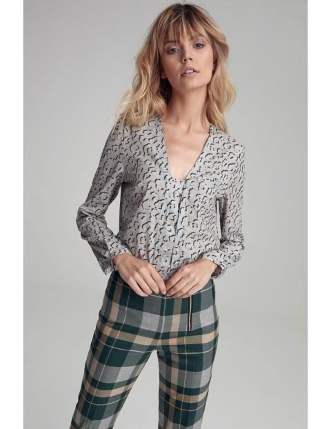 Bluzka koszulowa z guzikami - panterka