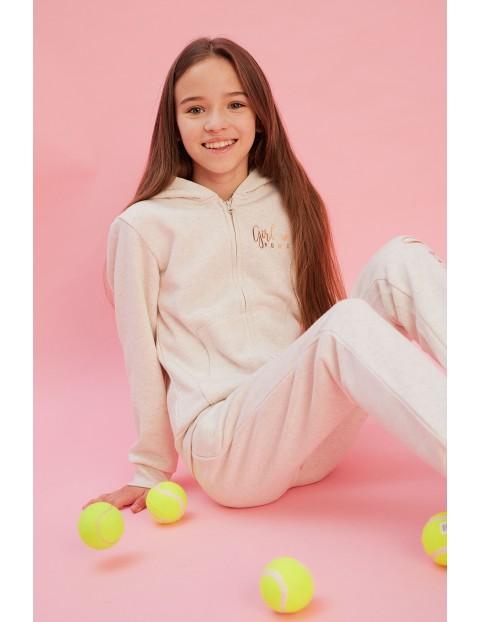 Spodnie dresowe dziewczęce kremowe