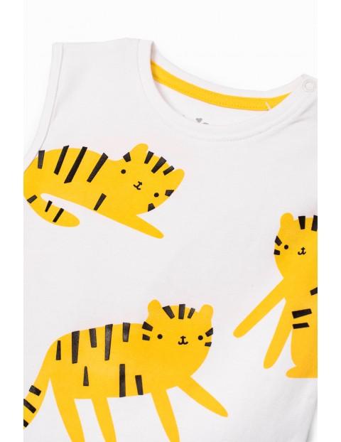 Białe body niemowlęce z tygryskami