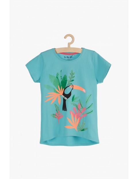 T-shirt dziewczęcy niebieski- Tukan