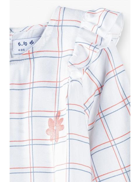 Biała koszula dziewczęca z kratkę z ozdobna falbanką