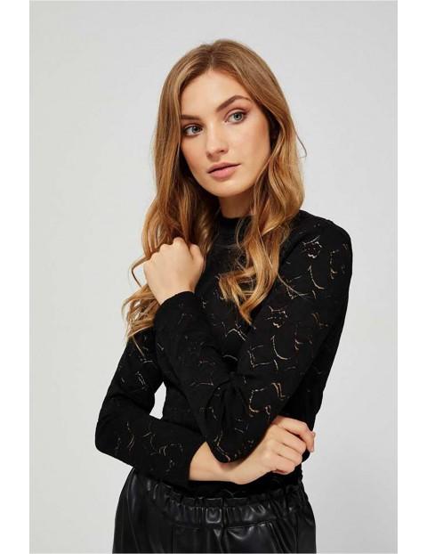 Bluzka damska czarna koronkowa