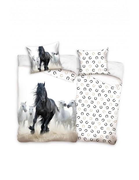 Komplet pościeli bawełnianej Konie 140x200+70x80 cm