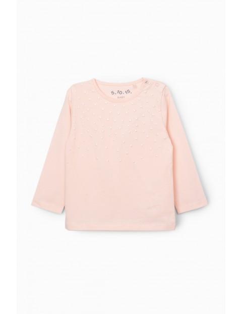 Bluzka dziewczęca - różowa z ozdobnymi nadrukami