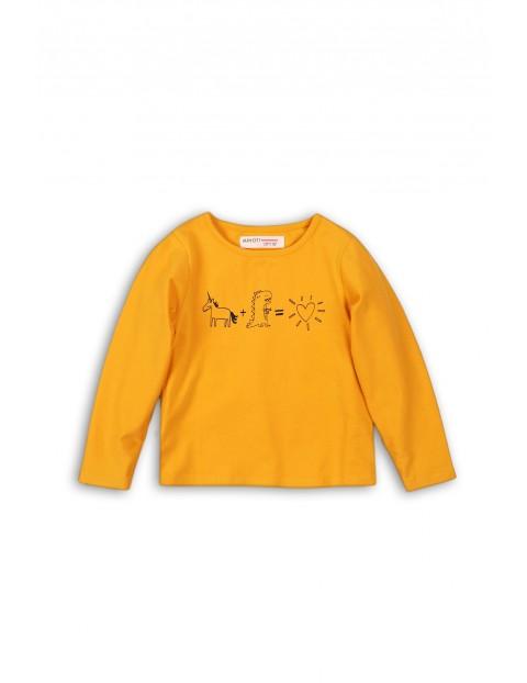 Bluzka dziewczęca z długim rękawem- żółta z nadrukiem rozm 92/98