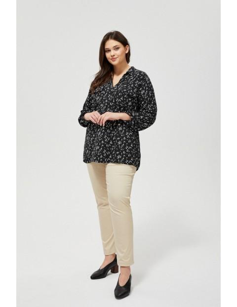 Czarna koszula damska z geometrycznym wzorem