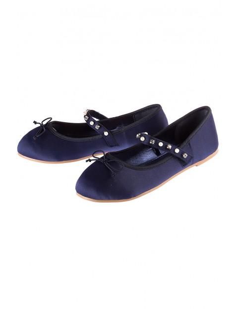 Baleriny dziewczęce granatowe- buty dla dziewczynki