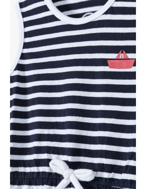 Bawełniana granatowa sukienka dziecięca w paski- ubrania dla całej rodzinyh